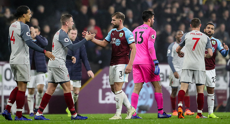 Players from both teams shake hands at the end of the match<br /> <br /> Photographer Andrew Kearns/CameraSport<br /> <br /> The Premier League - Burnley v Liverpool - Wednesday 5th December 2018 - Turf Moor - Burnley<br /> <br /> World Copyright © 2018 CameraSport. All rights reserved. 43 Linden Ave. Countesthorpe. Leicester. England. LE8 5PG - Tel: +44 (0) 116 277 4147 - admin@camerasport.com - www.camerasport.com