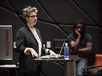 Mary Beth Heffernan, Professor, Art and Art History.<br /> Wanlass Distinguished Visiting Artist Willie Cole lecture, October 20, 2016 in Choi Auditorium. Willie Cole's work has been the subject of several one-person museum exhibitions: Montclair Art Museum (2006), University of Wyoming Art Museum (2006), the Tampa Museum of Art (2004), Miami Art Museum (2001), Bronx Museum of the Arts (2001) and the Museum of Modern Art, New York (1998). The Distinguished Visiting Artist residency is generously funded by the Kathryn Caine Wanlass Charitable Foundation<br /> (Photo by Marc Campos, Occidental College Photographer)