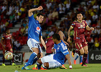 IBAGUE -COLOMBIA, 7-08-2016. Acción de juego entre Millonarios vs Tolima   durante encuentro  por la fecha 7 de la Liga Aguila II 2016 disputado en el estadio Manuel  Murillo Toro./ Action game between  Millonarios  and Tolima  during match for the date 7 of the Aguila League II 2016 played at Mnauel  Murillo Toro stadium. Photo:VizzorImage / Juan Carlos Escobar  / Contribuidor