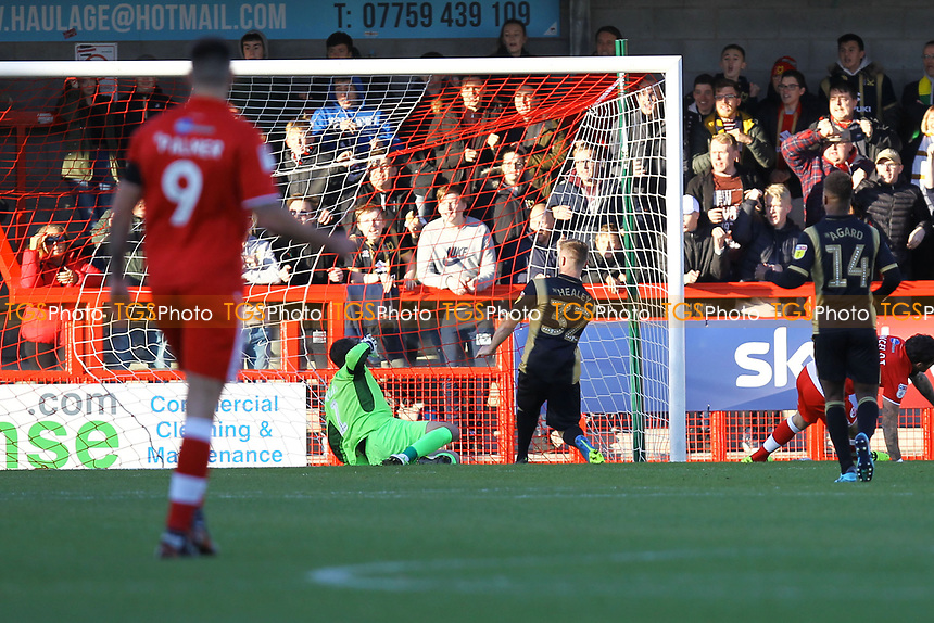 Rhys Healey (32) of MK Dons scores the first goal for his team during Crawley Town vs MK Dons, Sky Bet EFL League 2 Football at Broadfield Stadium on 3rd November 2018