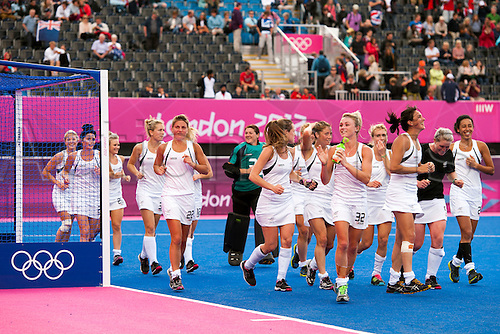 06.08.2012 Stratford, England. New Zealand tour the pitch after securing a draw and progressing to the next round the Womens Hockey Preliminary Match between New Zealand and Germany on Day 10 of the London 2012 Olympic Games at the Riverbank Arena.