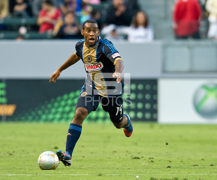 CARSON, CA - July 4, 2012: Philadelphia Union defender Amobi Okugo (14) during the LA Galaxy vs Philadelphia Union match at the Home Depot Center in Carson, California. Final score LA Galaxy 1, Philadelphia Union 2.