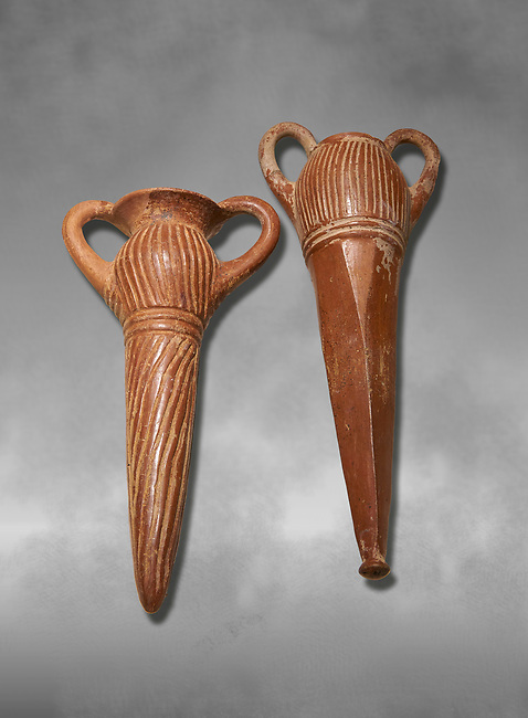 Bronze Age Anatolian terra cotta two handled beakers - 19th to 17th century BC - Kültepe Kanesh - Museum of Anatolian Civilisations, Ankara, Turkey.