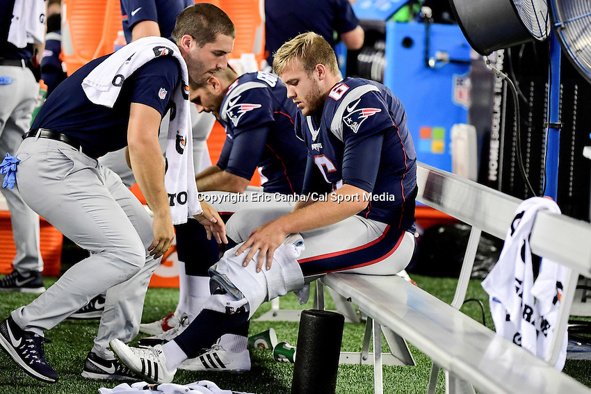 Thursday, August 18 2016: New England Patriots punter Ryan Allen (6) has his knee wrapped by a member of the training staff during a pre-season NFL game between the Chicago Bears and the New England Patriots held at Gillette Stadium in Foxborough Massachusetts. The Patriots defeat the Bears 23-22 in regulation time. Eric Canha/Cal Sport Media