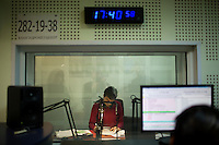 A Bashkir radio announcer prepares to go on air at the state-run Telecenter radio and television stations in Ufa, Bashkortostan, Russia.