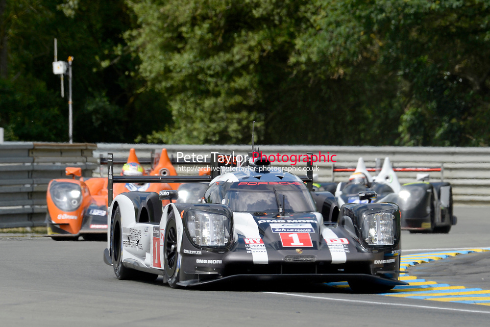 Timo Bernhard (DEU) / Mark Webber (AUS) / Brendon Hartley (NZL) #1 Porsche Team Porsche 919 Hybrid, during first practice for the Le Mans 24 Hr June 2016 at Circuit de la Sarthe, Le Mans, Pays de la Loire, France. June 15 2016.