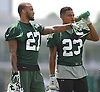Dee Milliner #27 of the New York Jets, left, stands alongside #23 Dexter McDougle during team training camp at Atlantic Health Jets Training Center in Florham Park, NJ on Friday, July 29, 2016.