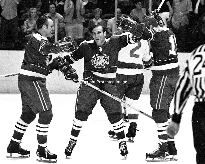 Seals score against the NorthStars (1970 photo).Gerry Ehman, Gary Jarrett and Mike Laughton..(Ron Riesterer/photo)
