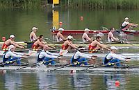 Lucerne, SWITZERLAND<br /> <br /> Men's Quadruple Sculls Repechage, 2016 European Olympic Qualifying Regatta, Lake Rotsee.<br /> <br /> Monday  23/05/2016<br /> <br /> [Mandatory Credit; Peter SPURRIER/Intersport-images]