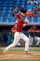 Clearwater Threshers center fielder Carlos Tocci (15) at bat during a game against the Charlotte Stone Crabs on April 12, 2016 at Bright House Field in Clearwater, Florida.  Charlotte defeated Clearwater 2-1.  (Mike Janes/Four Seam Images)