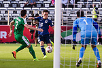 Nagatomo Yuto of Japan (C) attempts a kick for score during the AFC Asian Cup UAE 2019 Group F match between Japan (JPN) and Turkmenistan (TKM) at Al Nahyan Stadium on 09 January 2019 in Abu Dhabi, United Arab Emirates. Photo by Marcio Rodrigo Machado / Power Sport Images