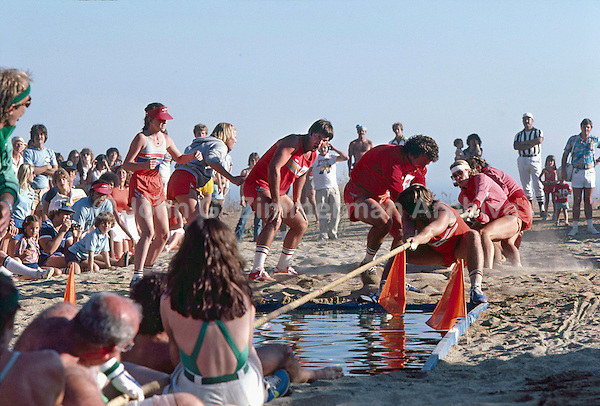 Battle of the Network Stars, Tug of War CBS (in green, foreground) vs NBC (red), Pepperdine University, Pepperdine California, November 1979. Photo by John G. Zimmerman.