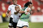 Cecil Afrika of South Africa runs with the ball during the match Fiji vs South Africa, Day 2 of the HSBC Singapore Rugby Sevens as part of the World Rugby HSBC World Rugby Sevens Series 2016-17 at the National Stadium on 16 April 2017 in Singapore. Photo by Victor Fraile / Power Sport Images