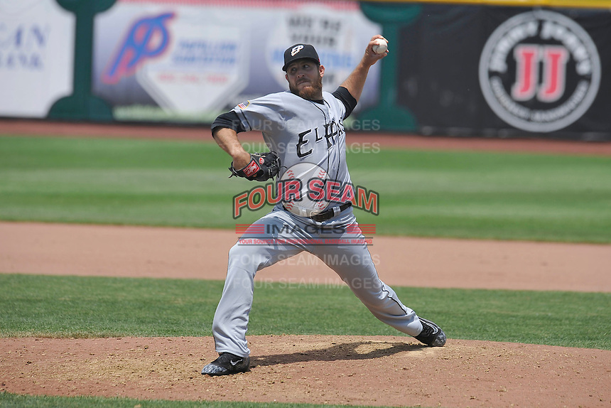 El Paso Chihuahuas Daniel Moskos (15) throws during the game against the Omaha Storm Chasers at Werner Park on May 30, 2016 in Omaha, Nebraska.  El Paso won 12-0.  (Dennis Hubbard/Four Seam Images)