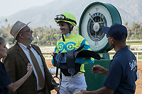 ARCADIA, CA   FEBRUARY 3 :Flavien Prat, iis all smiles after winning the Robert B. Lewis Stakes (Grade lll) on February 3, 2018 at Santa Anita Park in Arcadia, CA.(Photo by Casey Phillips/ Eclipse Sortswire/ Getty Images)
