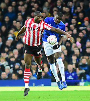 Lincoln City's John Akinde battles with  Everton's Kurt Zouma<br /> <br /> Photographer Andrew Vaughan/CameraSport<br /> <br /> Emirates FA Cup Third Round - Everton v Lincoln City - Saturday 5th January 2019 - Goodison Park - Liverpool<br />  <br /> World Copyright &copy; 2019 CameraSport. All rights reserved. 43 Linden Ave. Countesthorpe. Leicester. England. LE8 5PG - Tel: +44 (0) 116 277 4147 - admin@camerasport.com - www.camerasport.com