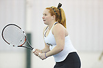 Chandler Carter of the Wake Forest Demon Deacons warms-up prior to the match against the Liberty Flames at the Wake Forest Indoor Tennis Center on March 11, 2017 in Winston-Salem, North Carolina. The Demon Deacons defeated the Flames 7-0.  (Brian Westerholt/Sports On Film)