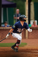 Elizabethton Twins left fielder DaShawn Keirsey (8) follows through on a swing during a game against the Bristol Pirates on July 29, 2018 at Joe O'Brien Field in Elizabethton, Tennessee.  Bristol defeated Elizabethton 7-4.  (Mike Janes/Four Seam Images)