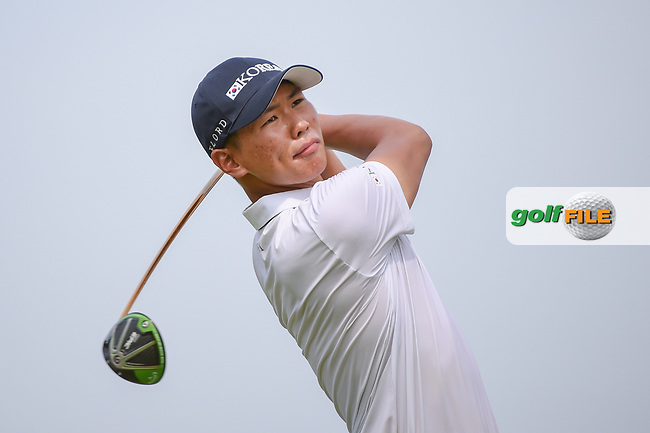 Jin-Bo HA (KOR) watches his tee shot on 6 during Rd 3 of the Asia-Pacific Amateur Championship, Sentosa Golf Club, Singapore. 10/6/2018.<br /> Picture: Golffile | Ken Murray<br /> <br /> <br /> All photo usage must carry mandatory copyright credit (© Golffile | Ken Murray)