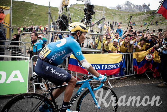 Colombian fans cheering for sNairo Quintana (COL/Movistar) at the finish<br /> <br /> hortened stage 20: Albertville to Val Thorens(59km in stead of the original 130km due to landslides/bad weather)<br /> 106th Tour de France 2019 (2.UWT)<br /> <br /> ©kramon