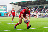 Jacob Morris of Gloucester Rugby runs in a try. Premiership Rugby 7s (Day 2) on July 28, 2018 at Franklin's Gardens in Northampton, England. Photo by: Patrick Khachfe / Onside Images
