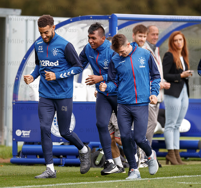 26.09.2018 Rangers training: Connor Goldson, Alfredo Morelos and Ryan Jack