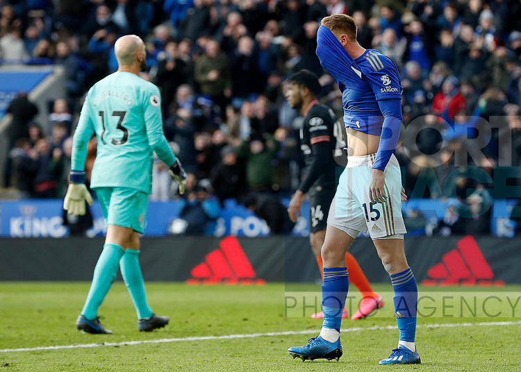 Harvey Barnes of Leicester City reacts after missing a chance to score against Chelsea during the Premier League match at the King Power Stadium, Leicester. Picture date: 1st February 2020. Picture credit should read: Darren Staples/Sportimage