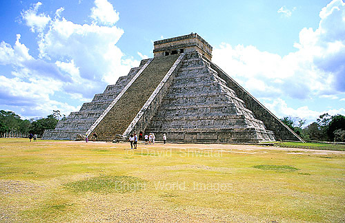 The ruins of 'El Castillo' pyramid commands an imposing view in the Mayan city of Chichen Itza in the Yucatan, Mexico