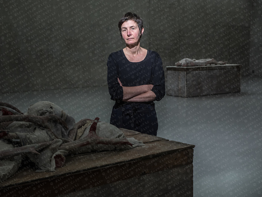 "Berlinde De Bruyckere poses for a Portrait in her ""The Embalmer"" exhibition at the Kunstahaus Bregenz. The Belgium artist who lives and works in Ghent, is known for her sculpture in various media including wax, wood, wool, horse skin and hair, though she also works in watercolour, gouache."
