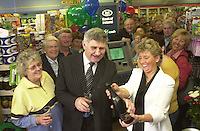 Pictured at the launch of Bank of Ireland's new ATM in Centra, TopcrossWaterville are Sheila Ann Fogarty, Proprietor, Centra; Dermot Walsh, Manager, Bank of<br /> Ireland, Cahirciveen ; and Mick O'Dwyer, ex Kerry senior football teammanager. Also pictured are co-proprietor, Padraig Fogarty, and Tim Corcoran, Centra Relationship Manager. This launch is part of an ongoing investment by Bank of Ireland in its ATM infrastructure which will see 500 retailer ATMs installed countrywide over the next two years.                    <br /> Picture by macMonagle, Killarney