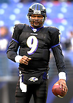 31 December 2006: Baltimore Ravens quarterback Steve McNair (9) warms up prior to a game against the Buffalo Bills at M&T Bank Stadium in Baltimore, Maryland. The Ravens defeated the Bills 19-7. Mandatory Photo Credit: Ed Wolfstein Photo.<br />