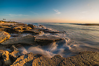 Coquina rocks at St. Augustine, Florida. Coquina rocks were formed many years ago by coquina seashells dissolving to form rock formations.