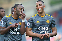 Leicester City's Ricardo Pereira (left) and Youri Tielemans applaud the fans at the final whistle <br /> <br /> Photographer Stephen White/CameraSport<br /> <br /> The Premier League - Huddersfield Town v Leicester City - Saturday 6th April 2019 - John Smith's Stadium - Huddersfield<br /> <br /> World Copyright © 2019 CameraSport. All rights reserved. 43 Linden Ave. Countesthorpe. Leicester. England. LE8 5PG - Tel: +44 (0) 116 277 4147 - admin@camerasport.com - www.camerasport.com
