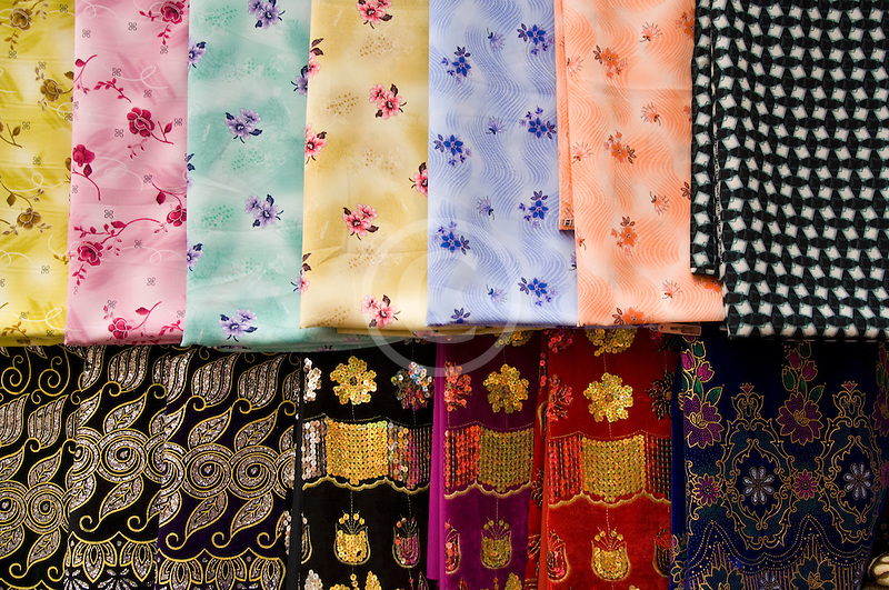 United Arab Emirates, Dubai, Colorful fabrics for sale in the Souq