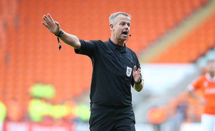 Referee Christopher Sarginson<br /> <br /> Photographer Stephen White/CameraSport<br /> <br /> The EFL Sky Bet League One - Blackpool v Portsmouth - Saturday 31st August 2019 - Bloomfield Road - Blackpool<br /> <br /> World Copyright © 2019 CameraSport. All rights reserved. 43 Linden Ave. Countesthorpe. Leicester. England. LE8 5PG - Tel: +44 (0) 116 277 4147 - admin@camerasport.com - www.camerasport.com