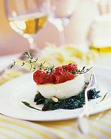"""Europe/Italie/Emilie-Romagne/Bologne : Timbale de chèvre, tomates confites avec épinards et pignons de pin - Recette de Marco Fadiga du restaurant """"La Pernice e La Gallina"""""""