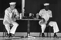 "U.S. Navy servicemembers relaxing on shore leave at the (Best Western) Pioneer Inn, Lahaina, Maui. The Pioneer Inn was in the 1961 movie ""The Devil at 4 O'Clock."""