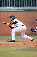 Nick Daddio (20) of the Charlotte 49ers squares to bunt against the Akron Zips at Hayes Stadium on February 22, 2015 in Charlotte, North Carolina.  The Zips defeated the 49ers 5-4.  (Brian Westerholt/Four Seam Images)