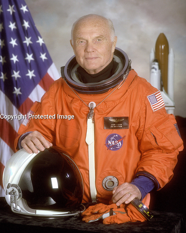 04/14/1998 File Photo - STS-95 crewmember, astronaut and U.S. Senator John Glenn. Glenn was the first American to orbit the earth and returned to space in 1998 aboard a Space Shuttle flight.