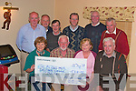 Joe Brennan, centre presented a cheque, for EUR5,318.00 to Kay Macnamra, (The Rosemarie Alzheimhers Day Care Centre Tralee), left and Ann McCarthy, right, (The Rosemarie Alzheimhers Day Care Centre Tralee), on behalf of Kilflynn Vintage Club at Parkers bar Kilflynn on Friday night.   Pictured front l-r Kay Macnamara, Joe Brenna, Ann McCarthy, John Brennan.  Back Con Leen, Jack Murphy, Phil Hannifin, Jack Condon, Frank O'Donoghue and John Dillon..   Copyright Kerry's Eye 2008