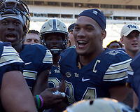 Pitt running back James Conner celebrates the win.The Pitt Panthers defeated the Villanova Wildcats 28-7 at Heinz Field, Pittsburgh, Pennsylvania on September 3, 2016.