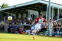 SCHOONEBEEK - Voetbal, SVV 04 - FC Emmen, voorbereiding seizoen 2018-2019, 06-07-2018,  FC Emmen speler Caner Caplan geeft een voorzet met op de achtergrond volle tribune