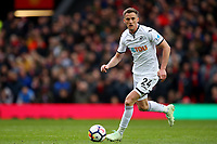 Andy King of Swansea City during the Premier League match between Manchester United and Swansea City at the Old Trafford, Manchester, England, UK. Saturday 31 March 2018