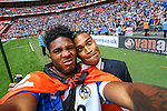 Ellis Harrison of Bristol Rovers takes a selfie after winning the 2015 Vanarama Conference Promotion Final match between Grimsby Town and Bristol Rovers at Wembley Stadium, London<br /> Picture by David Horn/eXtreme aperture photography +44 7545 970036<br /> 17/05/2015
