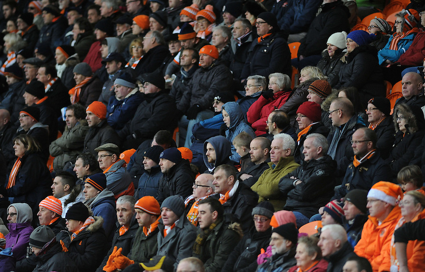Blackpool watch on during the match<br /> <br /> Photographer Kevin Barnes/CameraSport<br /> <br /> Football - The Football League Sky Bet Championship - Blackpool v Birmingham City - Saturday 6th December 2014 - Bloomfield Road - Blackpool<br /> <br /> &copy; CameraSport - 43 Linden Ave. Countesthorpe. Leicester. England. LE8 5PG - Tel: +44 (0) 116 277 4147 - admin@camerasport.com - www.camerasport.com