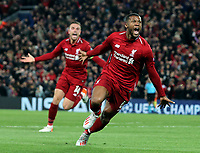 Liverpool's Georginio Wijnaldum celebrates scoring his side's third goal <br /> <br /> Photographer Rich Linley/CameraSport<br /> <br /> UEFA Champions League Semi-Final 2nd Leg - Liverpool v Barcelona - Tuesday May 7th 2019 - Anfield - Liverpool<br />  <br /> World Copyright © 2018 CameraSport. All rights reserved. 43 Linden Ave. Countesthorpe. Leicester. England. LE8 5PG - Tel: +44 (0) 116 277 4147 - admin@camerasport.com - www.camerasport.com