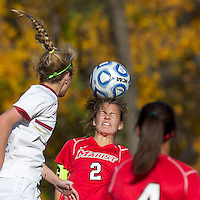 Marist College midfielder Kathryn Hannis (2) heads the ball. Boston College defeated Marist College, 6-1, in NCAA tournament play at Newton Campus Field, November 13, 2011.