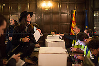 London, 09/11/2014. Today, Catalan people based in London queued for hours outside the Delegati&oacute; del Govern de la Generalitat de Catalunya (Delegation of Catalonia in the United Kingdom) in Fleet Street to vote for the &quot;referendum&quot; (considered not legal by the Spanish Government) for complete self-determination and independence announced ...<br /> <br /> For more pictures on this event click here: &lt;a href= &quot; http://bit.ly/1EtqnBI&quot;&gt; http://bit.ly/1EtqnBI&lt;/a&gt;