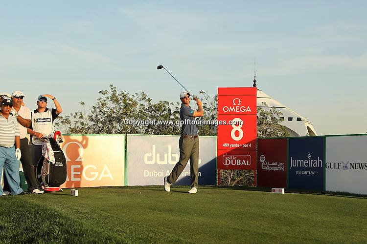 Nicclas Colesaerts drives at the 8th hole during the pro-am ahead of the 2012 Omega Dubai Desert Classic being played over the Majlis Course, Emirates Golf Club, Dubai, UAE from 9th to 12th February 2012: Picture, Stuart Adams, www.golftourimages.com