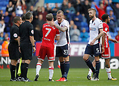 9th September 2017, Macron Stadium, Bolton, England; EFL Championship football, Bolton Wanderers versus Middlesbrough; Grant Leadbitter of Middlesbrough with the match officials and David Wheater and Mark Beevers of Bolton Wanderers at the end of the game